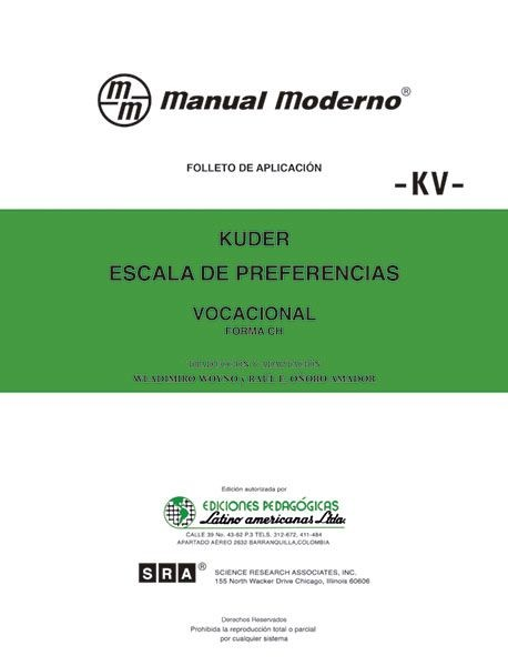 KV. ESCALA DE PREFERENCIAS...